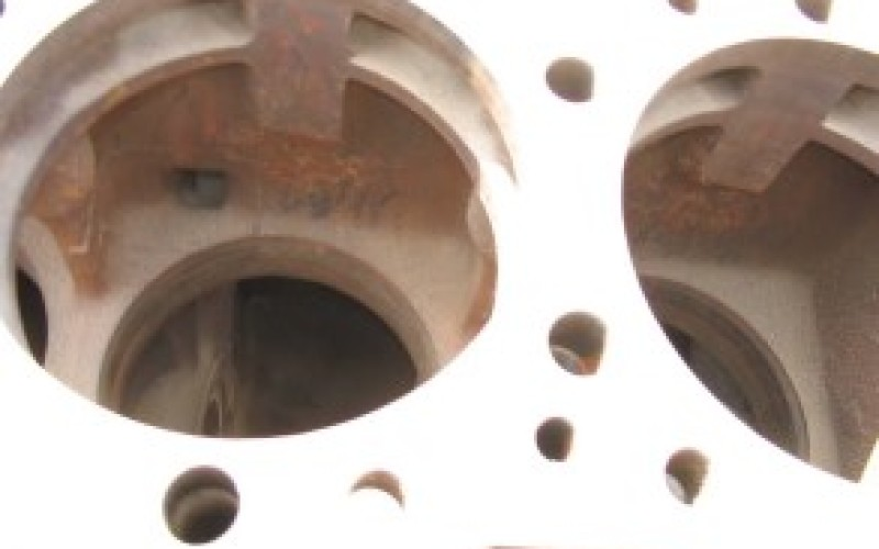 Cavitation and corrosion damage on engine block