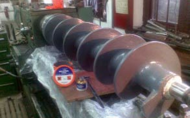 Two coats of Belzona 1392 (Ceramic HT2) applied to screw conveyor