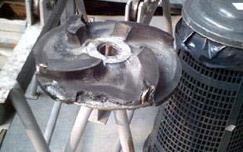 Severely damaged impeller