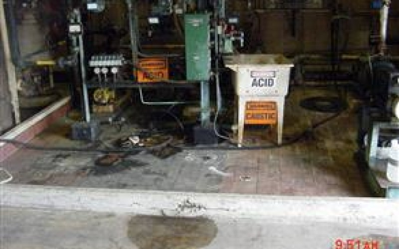 Acid spills had caused damage to chemical handling area