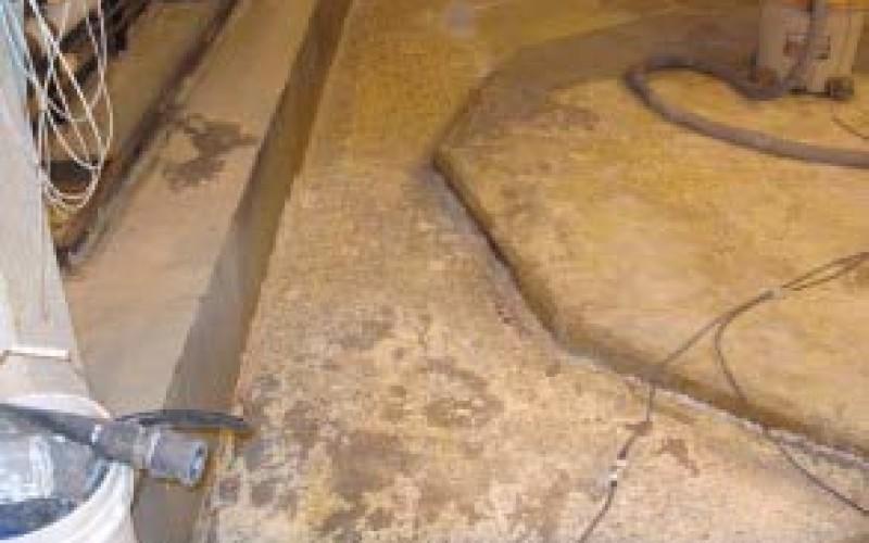 Damaged concrete bund