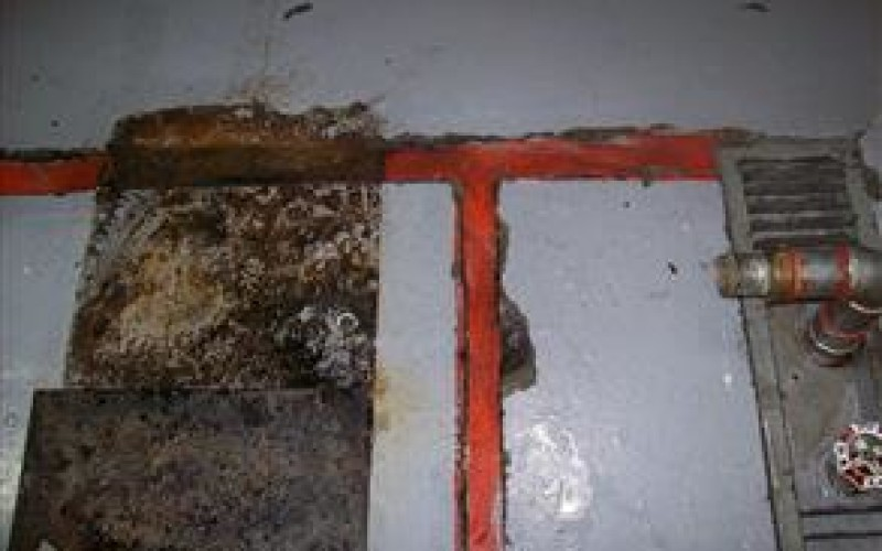 Expansion joint damaged due to chemical attack