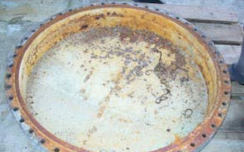 Corroded heat exchanger's end cover