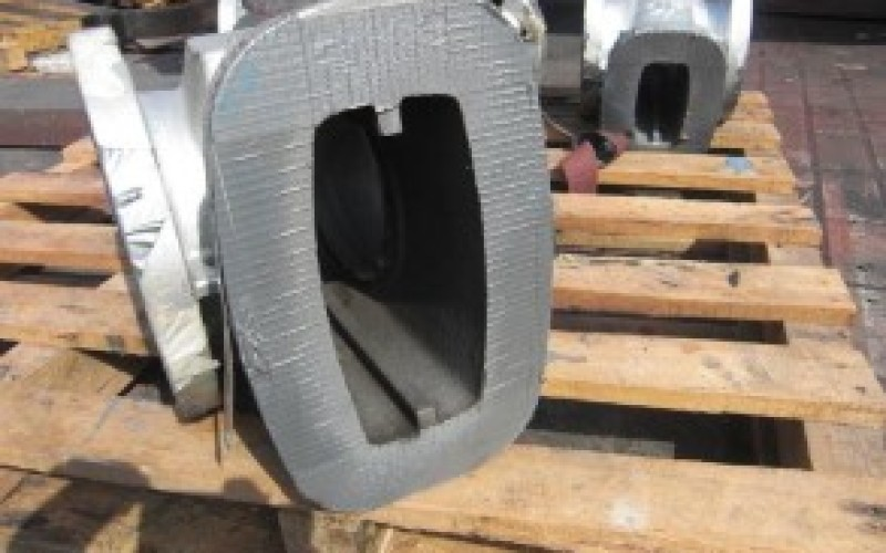 Internal surfaces of valve blasted